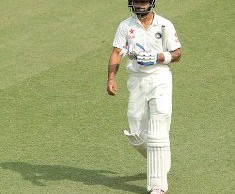 Virat Kohli Captain of India departs during day one of the 1st Paytm Freedom Trophy Series Test Match between India and South Africa held at the PCA, I.S Bindra Stadium in Mohali, India on the 5th November 2015  Photo by Ron Gaunt  / BCCI / SPORTZPICS